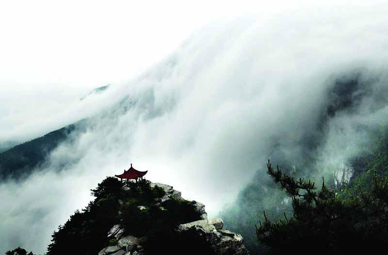 望庐山瀑布手绘插图