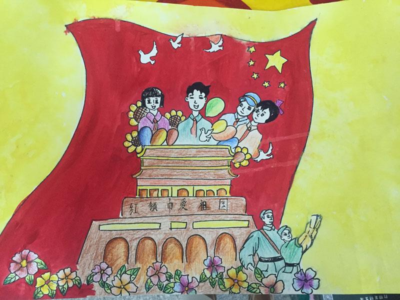 合肥市小学生手绘图画纪念长征胜利八十周年