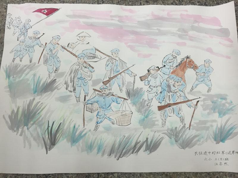给祖国母亲画一幅画-人民网讯 为纪念中国红军长征胜利80周年,六安路小学少先大队,利