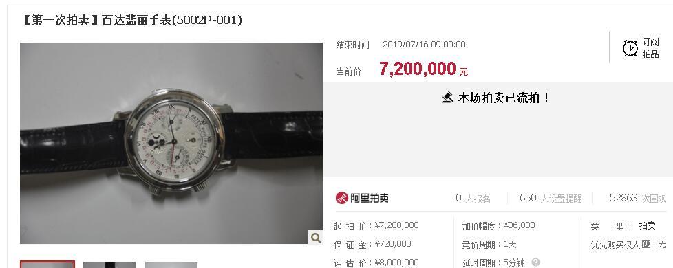 安徽司法厅原副厅长程瀚受贿物品拍卖评估价800万手表流拍